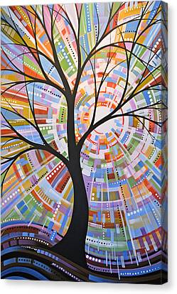 Canvas Print featuring the painting Original Abstract Tree Landscape Painting ... Here Comes The Sun by Amy Giacomelli