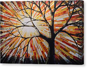 Canvas Print featuring the painting Original Abstract Tree Landscape Painting ... Shine by Amy Giacomelli