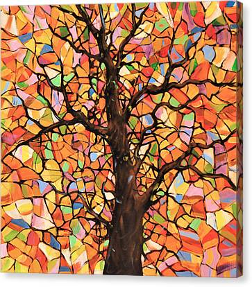 Original Abstract Tree Landscape Painting ... Stained Glass Tree #2 Canvas Print by Amy Giacomelli