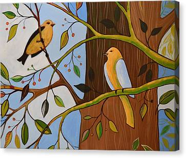 Canvas Print featuring the painting Original Animal Birds Art Painting ... Birds In The Garden by Amy Giacomelli
