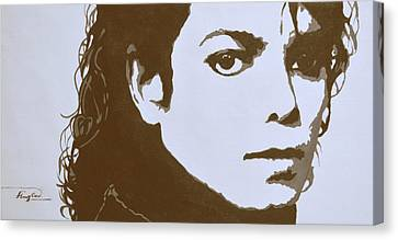 original black an white acrylic paint art- portrait of Michael Jackson#16-2-4-12 Canvas Print