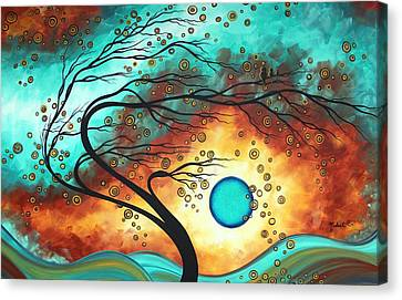 Baby Bird Canvas Print - Original Bold Colorful Abstract Landscape Painting Family Joy II By Madart by Megan Duncanson