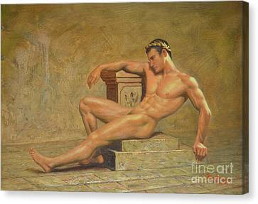 Original Classic Oil Painting Gay Man Body Art Male Nude -023 Canvas Print