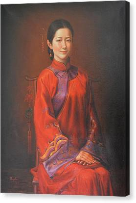 Original Classic Portrait Oil Painting Woman Art - Beautiful Chinese Bride Girl Canvas Print