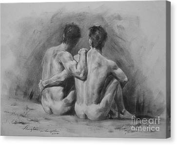 Original Drawing Sketch Charcoal Chalk Male Nude Gay Man Art Pencil On Paper By Hongtao Canvas Print