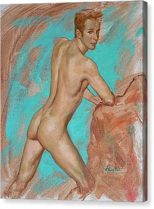 Original Impression Man Body Oil Painting Male Nude On Canvas#16-2-6-05 Canvas Print