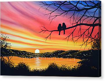 Original Landscape Art Birds Painting ... Alone Now Canvas Print by Amy Giacomelli
