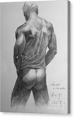 Original Man Gay Pencil Drawing Sketch Art On Peper By Hongtao Canvas Print