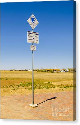 Original Midpoint Of Route 66 Signs In Adrian Texas Canvas Print