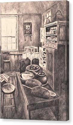 Original Old Fashioned Kitchen Canvas Print by Kendall Kessler