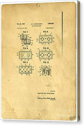 Register Canvas Print - Original Patent For Lego Toy Building Brick by Edward Fielding