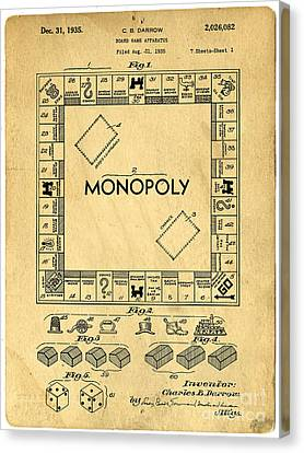 Original Patent For Monopoly Board Game Canvas Print by Edward Fielding
