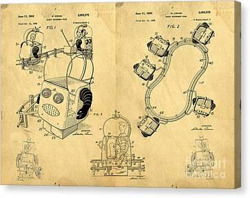 Original Patent For Robot Amusement Park Ride Canvas Print