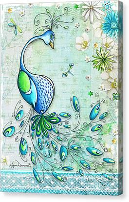 Original Peacock Painting Bird Art By Megan Duncanson Canvas Print by Megan Duncanson