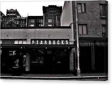 Original Starbucks Black And White Canvas Print by Benjamin Yeager