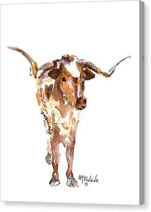 Original Longhorn Standing Earth Quack Watercolor Painting By Kmcelwaine Canvas Print by Kathleen McElwaine