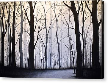 Original Tree Forest Landscape Tree Art Painting ... Through The Woods Canvas Print