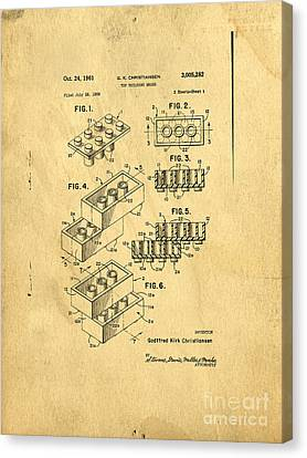 Original Us Patent For Lego Canvas Print by Edward Fielding