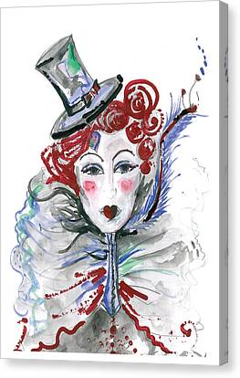 Original Watercolor Fashion Illustration Canvas Print by Marian Voicu