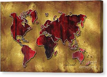 Original World Map Design Gold And Vibrant Red Unique Art By Megan Duncanson Canvas Print by Megan Duncanson