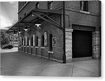 Oriole Park Box Office Bw Canvas Print by Susan Candelario