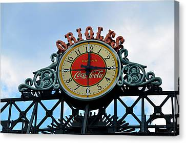 Orioles Clock - Camden Yards Canvas Print by Bill Cannon