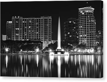 Orlando Black And White Night Canvas Print by Frozen in Time Fine Art Photography