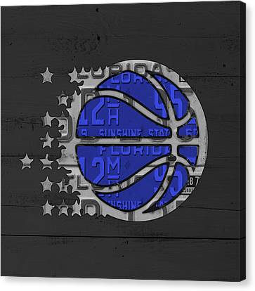 Orlando Magic Basketball Team Logo Vintage Recycled Florida License Plate Art Canvas Print by Design Turnpike
