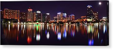 Sea Moon Full Moon Canvas Print - Orlando Over Lake Eola by Frozen in Time Fine Art Photography