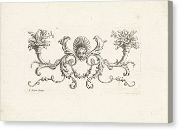 Ornament With A Mascaron Surrounded By Foliate Scrolls Two Canvas Print by Bernard Picart