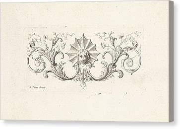 Ornament With A Mascaron Surrounded By Leafs Canvas Print by Bernard Picart