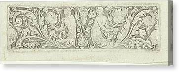 Ornament With Two Tritons And Two Skulls Canvas Print by Litz Collection