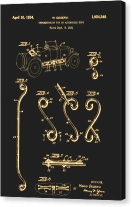 Old Car Canvas Print - Ornamentation For An Automobile Body Patent 1934 by Mountain Dreams