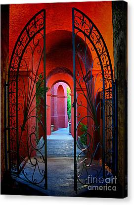 Ornate Gate To Red Archway Canvas Print by Amy Cicconi