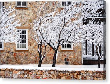 Ornate Historic Stone House In Winter Canvas Print by Gary Whitton