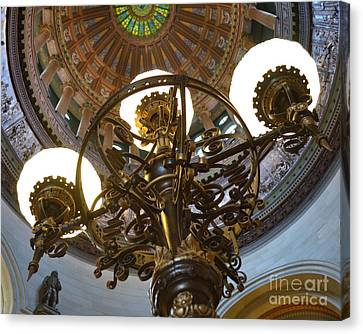 Ornate Lighting - Sprngfield Illinois Capitol Canvas Print by Luther Fine Art