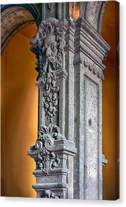 Ornate Mexican Stone Column Canvas Print by Lynn Palmer