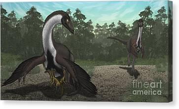 Ornithomimus Mother Dinosaur Canvas Print by Vitor Silva