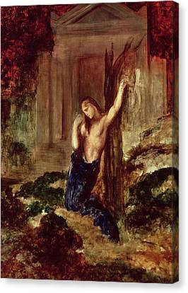 Orpheus At The Tomb Of Eurydice Canvas Print by Gustave Moreau