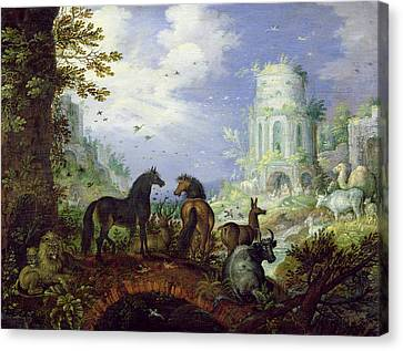Orpheus Charming The Animals, 1626 Canvas Print by Roelandt Jacobsz. Savery