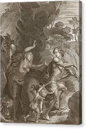 Orpheus, Leading Eurydice Out Of Hell Canvas Print by Bernard Picart