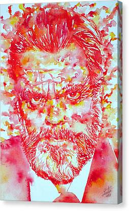 Orson Welles Watercolor Portrait Canvas Print
