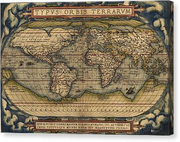 Ortelius Old World Map Canvas Print by Joseph Hawkins
