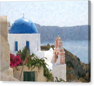 Orthodox Church Santorini Island Greece Canvas Print by Dan Chavez