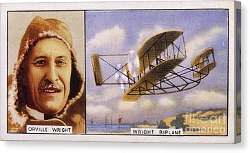 Orville Wright And Biplane Canvas Print