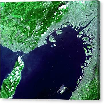 Osaka Bay Canvas Print by Nasa/gsfc/meti/japan Space Systems And U.s./japan Aster Science Team