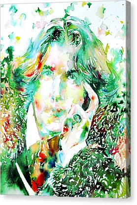 Oscar Wilde Watercolor Portrait.2 Canvas Print by Fabrizio Cassetta