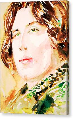 Oscar Wilde Watercolor Portrait.3 Canvas Print by Fabrizio Cassetta