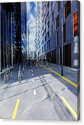 Oslo Architecture No. 3 -bicycles Canvas Print by Mary Machare