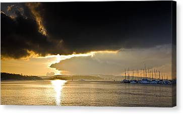 Oslo Harbor Sunset Canvas Print by Aaron Bedell